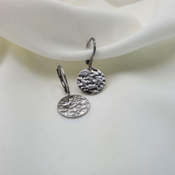 bijou femme créoles pyrzia médaille martelée acier