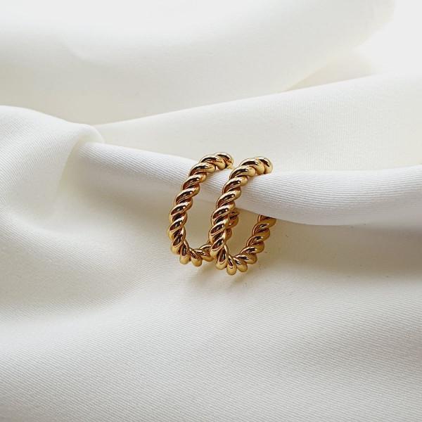 bijou femme créoles saccarua cercle ouvert torsadé acier doré