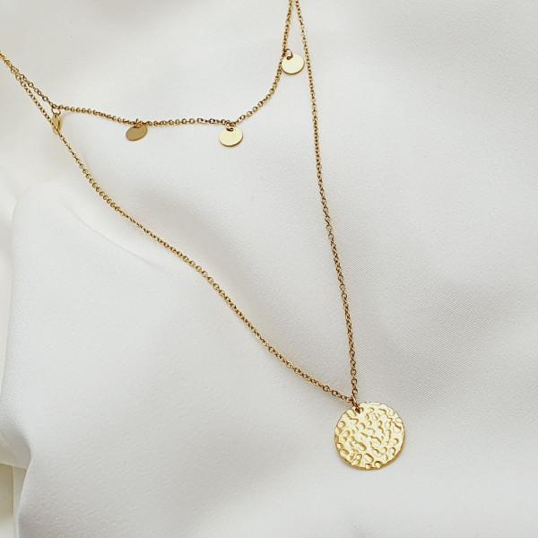 bijou femme collier Palyna rang double pampilles médaille martelée acier doré