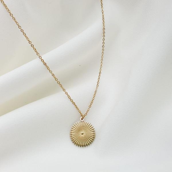 bijou femme collier planera chaîne simple soleil strié acier doré